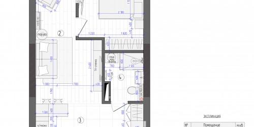 Дизайн-проект квартиры в ЖК Славутич в стиле Лофт, 39 м.кв.